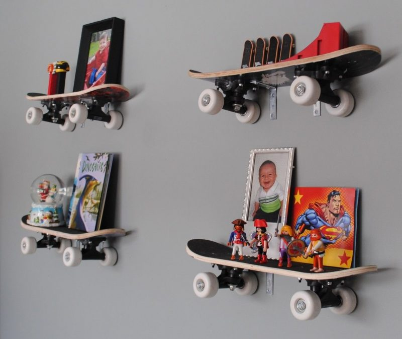 Outstanding Boys Rooms Wall Decors With Skateboard Shelving Unit Ideas  Inspiration Furniture For Photos Frame Displa…   Colorful kids room, Boy  room