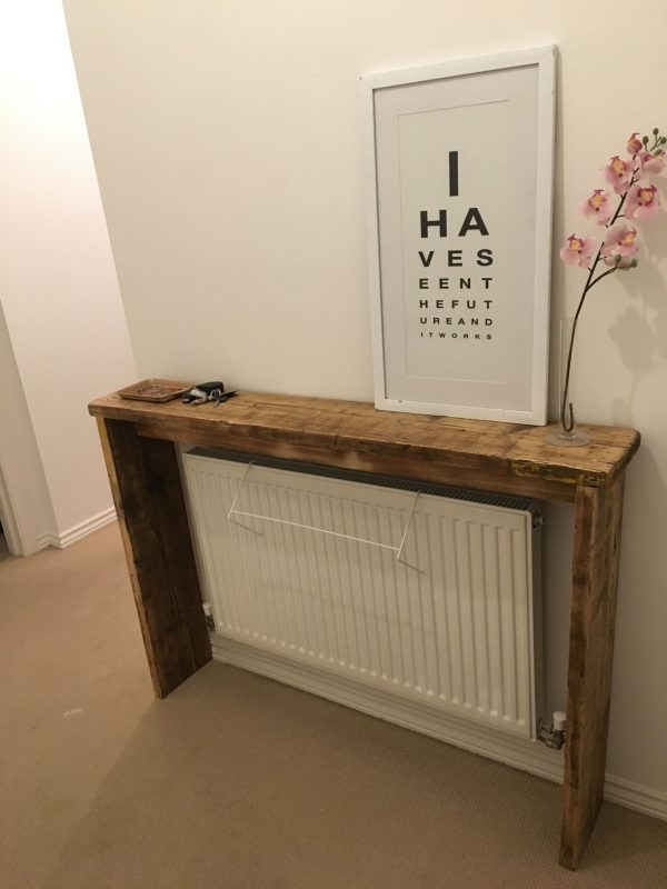 Reclaimed scaffolding board entryway bench / radiator cover | Radiator  cover, Diy radiator cover, Diy wood projects furniture