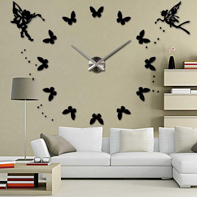Silent 3D Large Wall Clock Modern Design Self adhesive DIY Clock Acrylic Butterfly Angel Wall Sticker for Living Room Decor Wall Clocks  - AliExpress