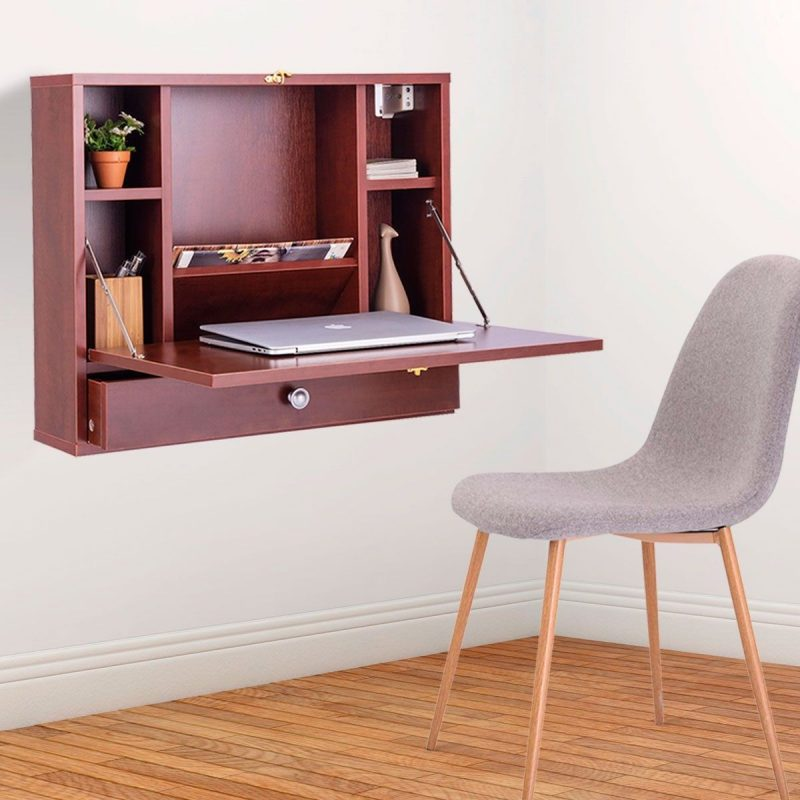 Wall Mounted Folding Laptop Desk Hideaway Storage with Drawer | Wall mounted computer desk, Desks for small spaces, Office desk designs