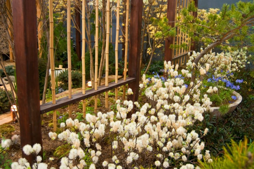 If you aren't overly concerned with privacy and just prefer the decorative element of bamboo, this lovely open design might be perfect. The thin stalks of bamboo are nestled into a solid wood frame, providing a contrasting and decorative backdrop for the lush flower beds.