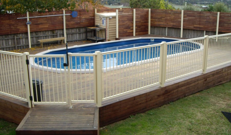 Mixed Material Above-Ground Pool Fence Ideas