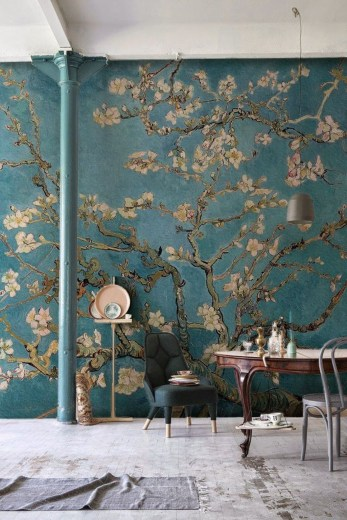 Amazing Painting Wallpaper On Livingroom 19