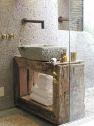 Inspiring Rustic Small Bathroom Wood Decor Design 11