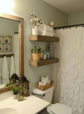 Inspiring Rustic Small Bathroom Wood Decor Design 33