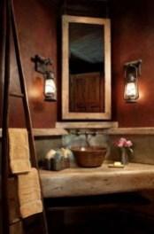 Inspiring Rustic Small Bathroom Wood Decor Design 39