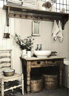 Rustic Country Bathroom Shelves Ideas Must Try 10
