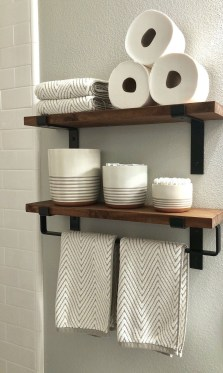 Rustic Country Bathroom Shelves Ideas Must Try 21