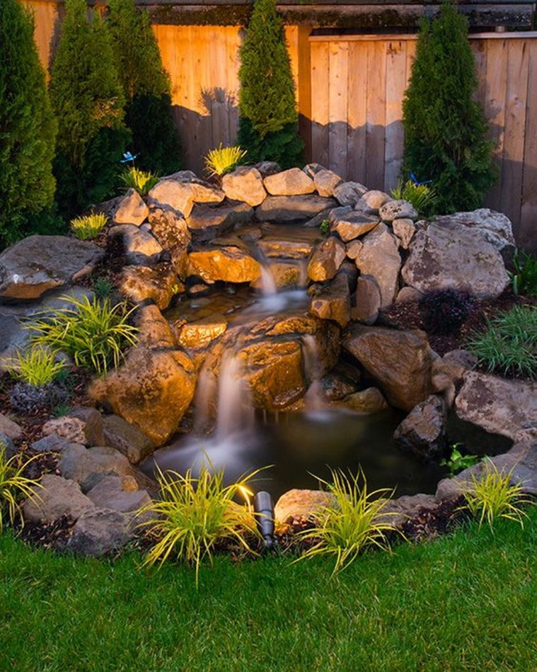 Awesome Small Waterfall Pond Landscaping Ideas Backyard10