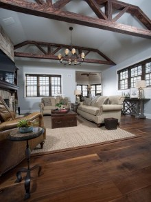 Inspiring Rustic Wooden Floor Living Room Design11