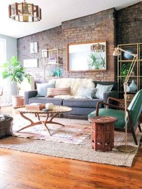 Ispiring Rustic Elegant Exposed Brick Wall Ideas Living Room24