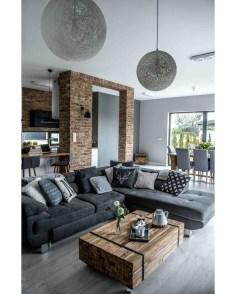 Ispiring Rustic Elegant Exposed Brick Wall Ideas Living Room26