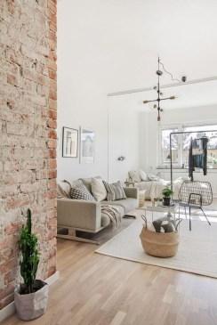 Ispiring Rustic Elegant Exposed Brick Wall Ideas Living Room34
