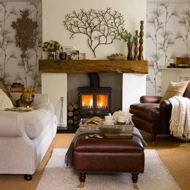 Rustic Brick Fireplace Living Rooms Decorations Ideas21