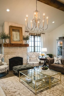 Rustic Brick Fireplace Living Rooms Decorations Ideas36