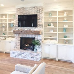 Rustic Brick Fireplace Living Rooms Decorations Ideas42