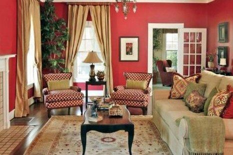 Amazing Red Apartment Living Room For Valentine06