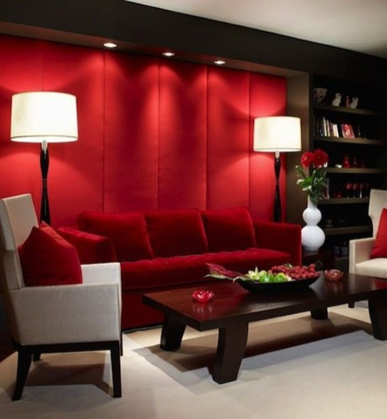 Amazing Red Apartment Living Room For Valentine15