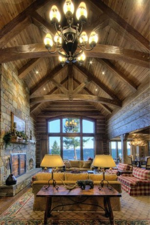 Gorgeous Log Cabin Style Home Interior Design02