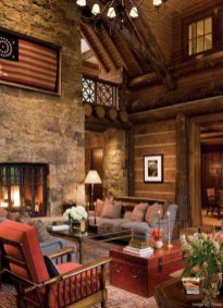 Gorgeous Log Cabin Style Home Interior Design10