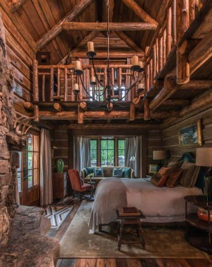 Gorgeous Log Cabin Style Home Interior Design23