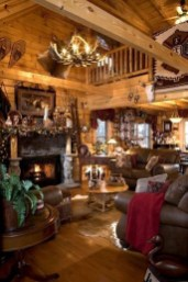 Gorgeous Log Cabin Style Home Interior Design39
