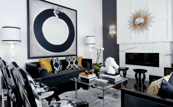 Wonderful Black White And Gold Living Room Design Ideas06
