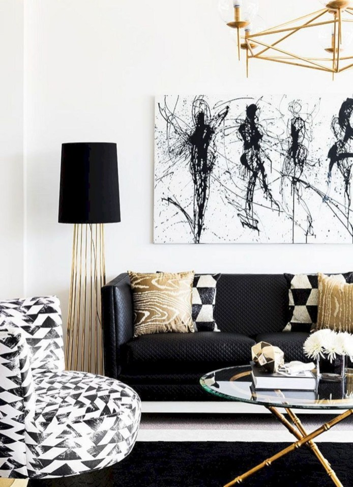 Wonderful Black White And Gold Living Room Design Ideas17