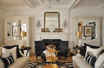 Wonderful Black White And Gold Living Room Design Ideas22