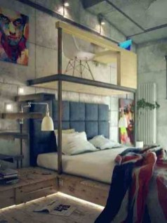 Awesome Industrial Style Bedroom Design Ideas29