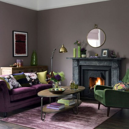 Awesome Living Room Green And Purple Interior Color Ideas06