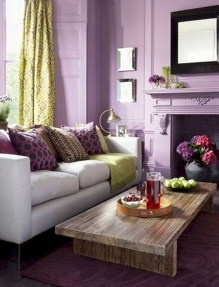 Awesome Living Room Green And Purple Interior Color Ideas18