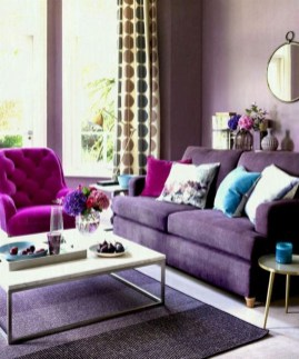 Awesome Living Room Green And Purple Interior Color Ideas35