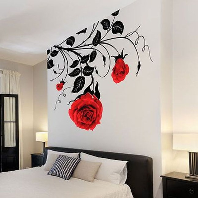 Fabulous Rose Wall Painting Design Ideas For You To Try In Home27