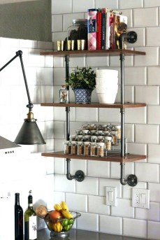 Wonderful Industrial Kitchen Shelf Design Ideas To Organize Your Kitchen29