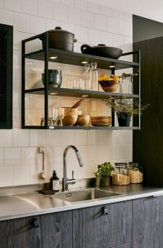 Wonderful Industrial Kitchen Shelf Design Ideas To Organize Your Kitchen34