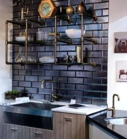 Wonderful Industrial Kitchen Shelf Design Ideas To Organize Your Kitchen41