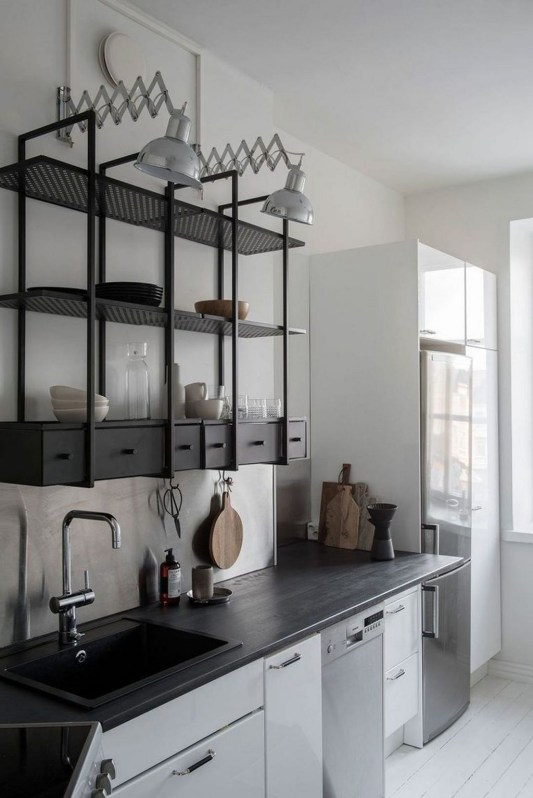 Wonderful Industrial Kitchen Shelf Design Ideas To Organize Your Kitchen42