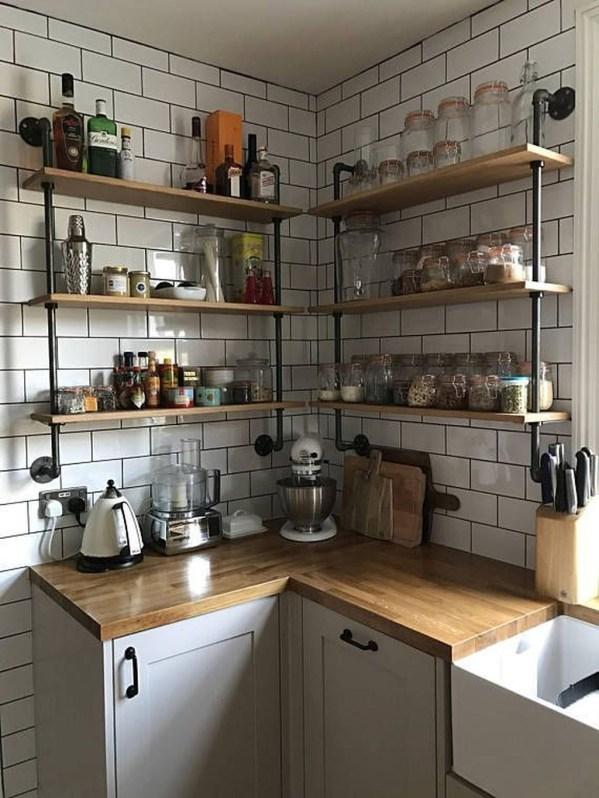 Wonderful Industrial Kitchen Shelf Design Ideas To Organize Your Kitchen43