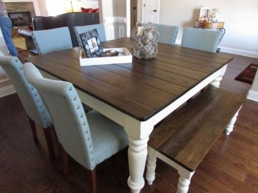 Pretty Farmhouse Table Design Ideas For Kitchen18