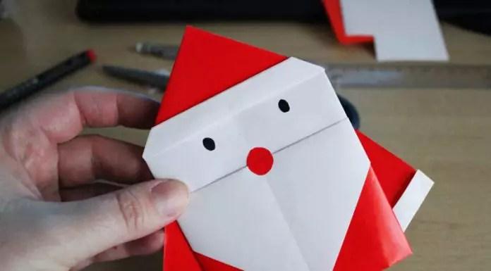Днем рождения, дед мороз оригами открытка