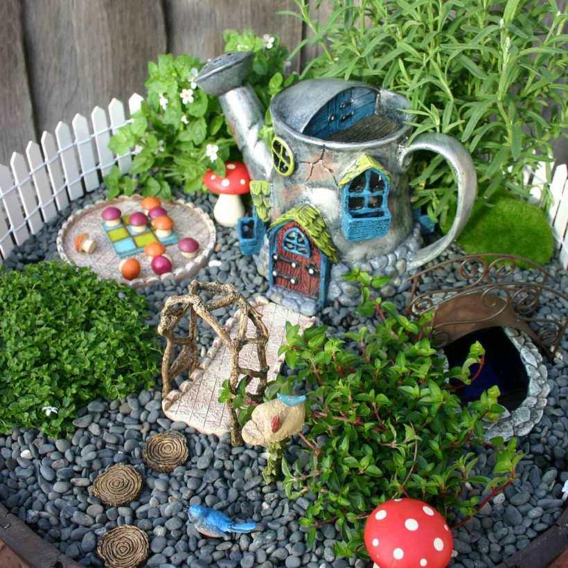 Rock Fairy Garden with Bucket
