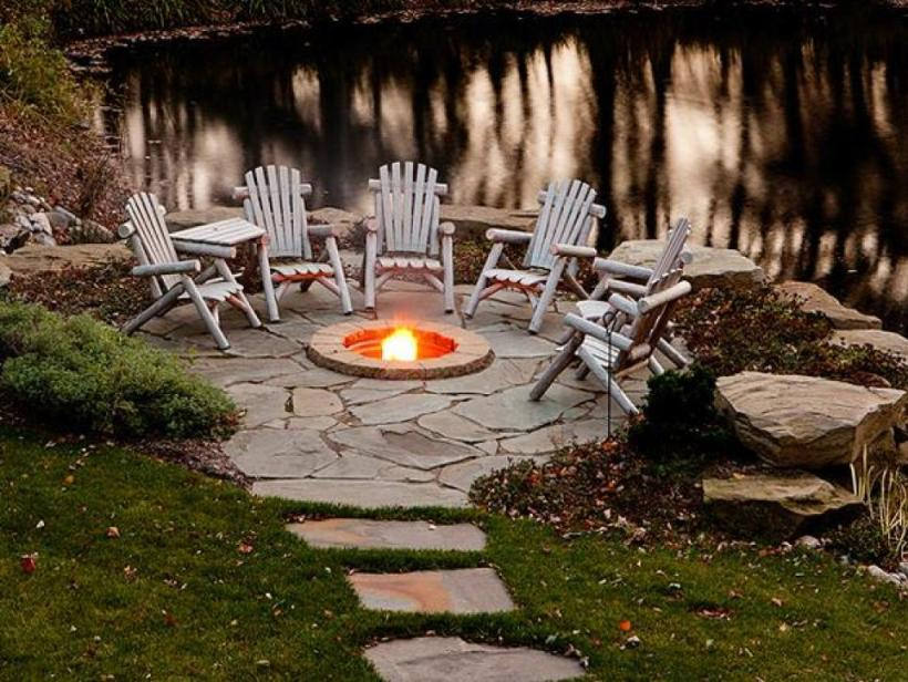 A Small Rustic Fire Pit Beside the Lake