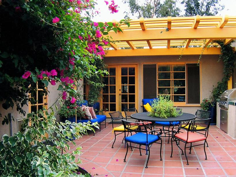 Colorful Outdoor Room with Pergolas