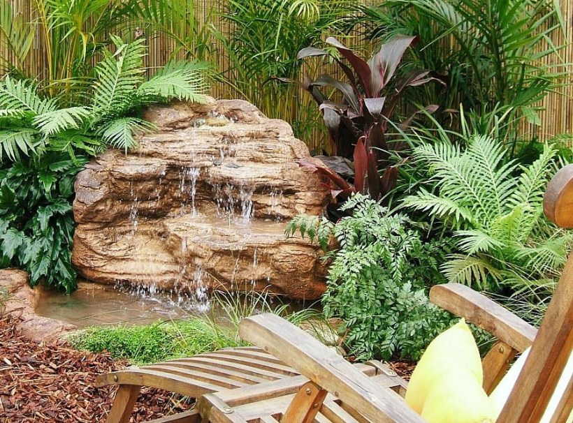 Tropical Landscape with Rock Waterfall