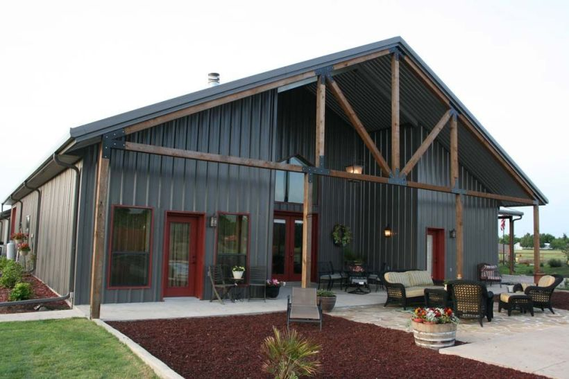 Metal Home with Backyard Landscaping