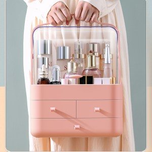Makeup Storage Organiser With Cover (Flamingo Daisy)