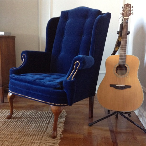navy blue wingback chairs rolling dining instagramz: reupholstered chair | hommemaker