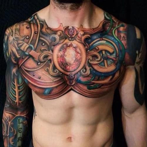 tatouage poitrine couleur