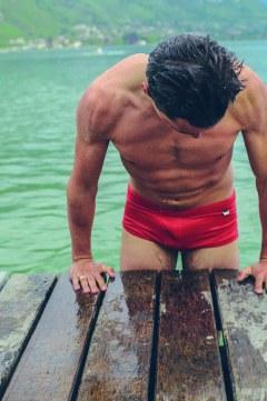 Maillot de bain rouge homme